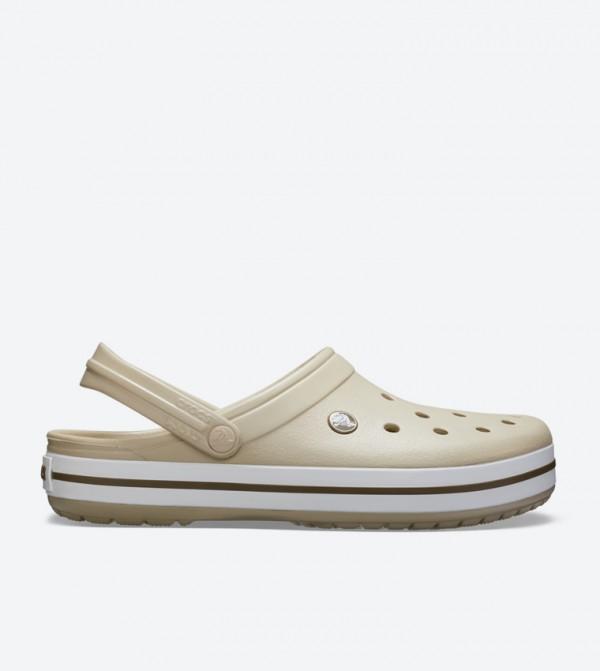 Crocband Back Ankle Strap Round Toe Clogs - Beige 11016-2T5