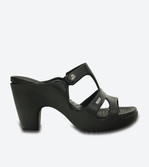 Cyprus V Heel Open Back Sandals - Black 201301-060
