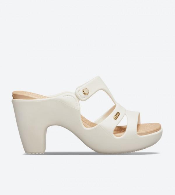 Cyprus V Heel Open Back Sandals - White 201301-13S
