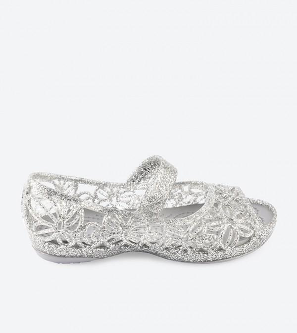 Crocs Isabella Glitter Peep Toe Sandals - Silver 202602-040