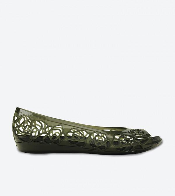 Isabella Jelly Lazer Cut Peep Toe Ballerinas - Black 203285-001