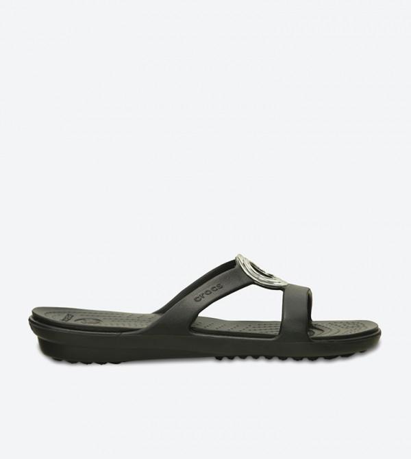 Sanrah Beveled Circle Flat Sandals - Black 203341-060