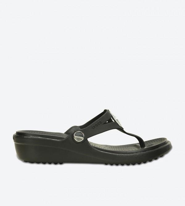 Sanrah Beveled Circle Flip Flops - Black 203342-060