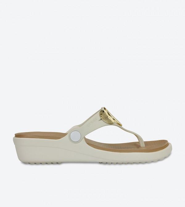 Sanrah Embellished Wedge Flip Flops - Off White 204009-13S