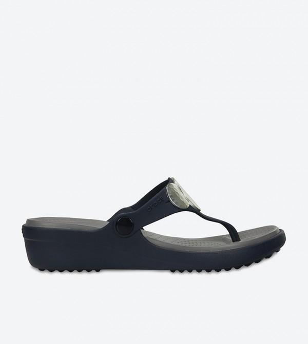 Sanrah Embellished Wedge Flip Flop - Navy 204009-410