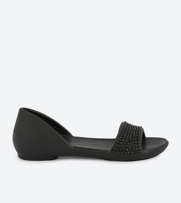 Lina Embellished Dorsay Sandals - Black