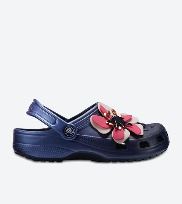 Botanical Floral Embroidered Clog Sandals - Navy 205248-410