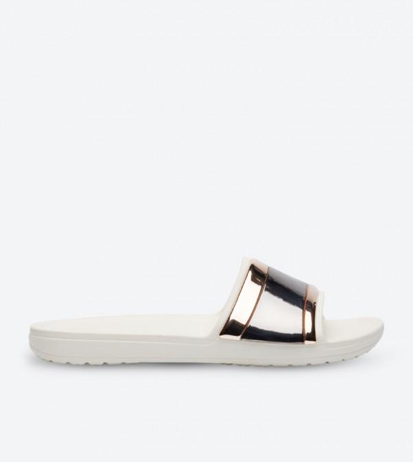 Sloane Metallic Strap Slides - White 205358-6PG