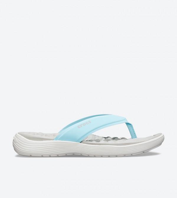 Crocs Reviva Stylish Upper Round Toe Flip Flops - Blue