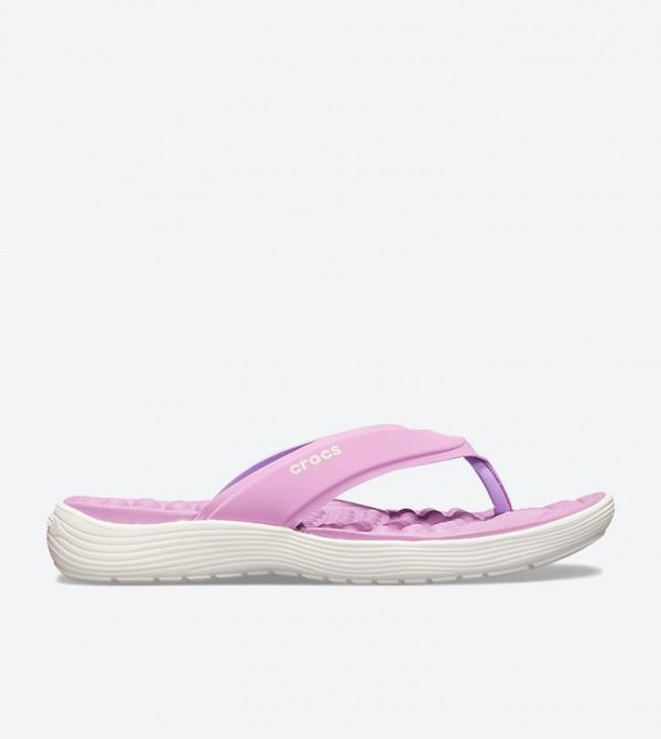 Crocs Reviva Stylish Upper Round Toe Flip Flops - Purple