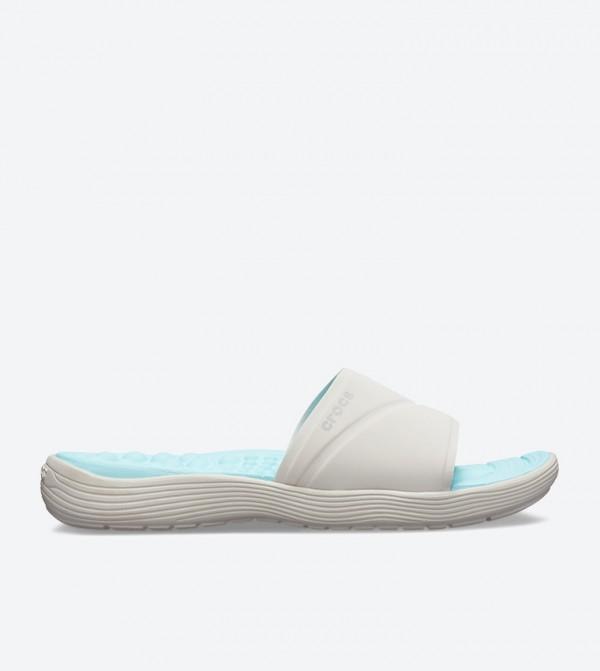Crocs Reviva Broad Strap Round Toe Slides - White