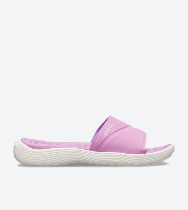Crocs Reviva Broad Strap Round Toe Slides - Purple