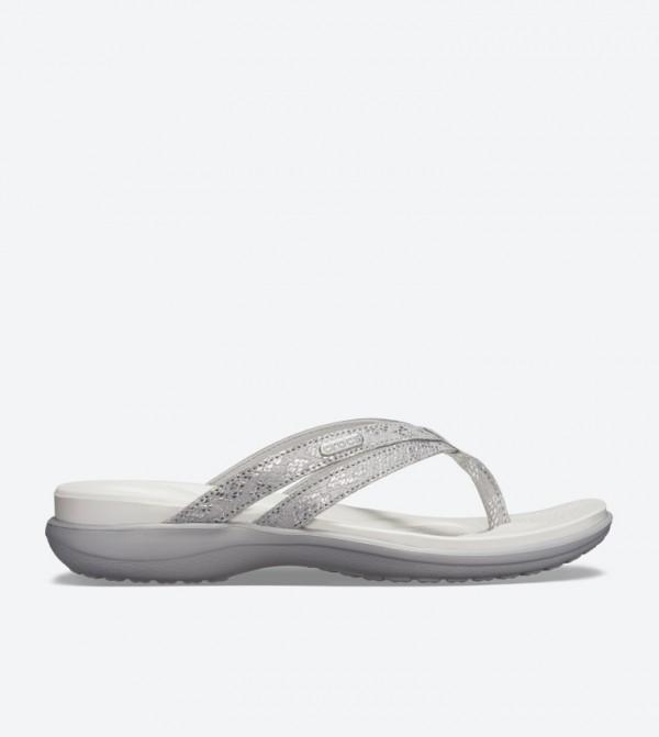 Capri Strappy Round Toe Flip Flops - Silver 205478-00N