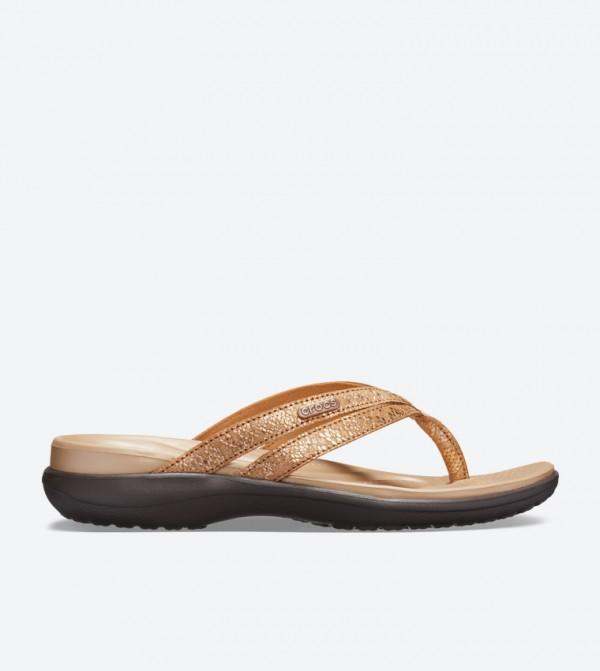 Capri Strappy Round Toe Flip Flops - Brown 205478-80Z