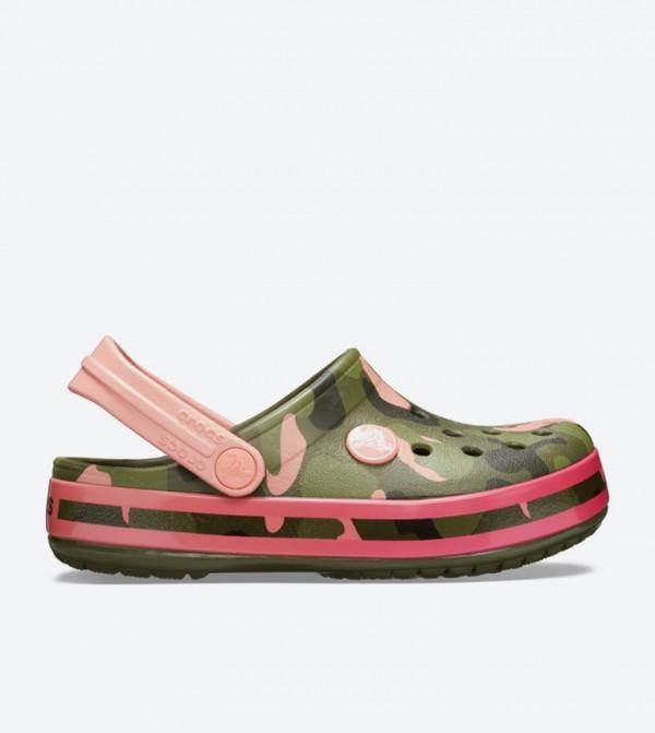 Crocband Multi Graphic Round Toe Clogs - Green 205532-737