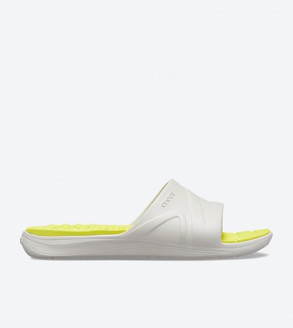 Crocs Reviva Broad Strap Round Toe Slides - Yellow
