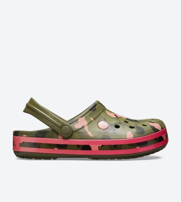 Crocband Seasonal Graphic Clogs - Green 205579-3S9