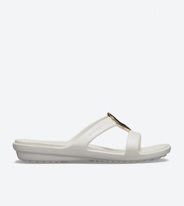 Sanrah Metal Block Round Toe Sandals - White 205592-995