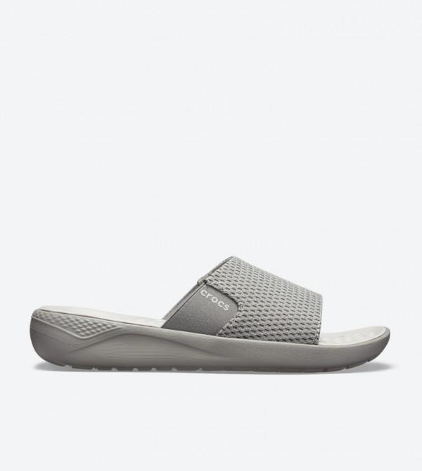 Literide Mesh Broad Strap Round Toe Slides - Grey 205611-06J