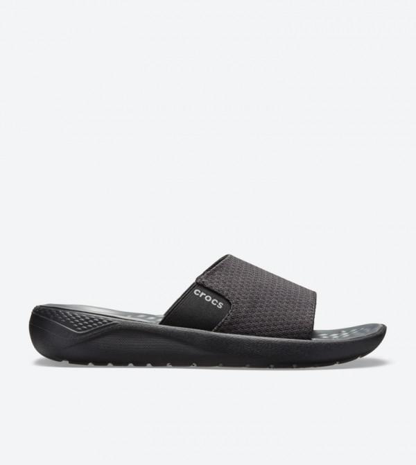 Literide Mesh Broad Strap Round Toe Slides - Black 205611-0DD