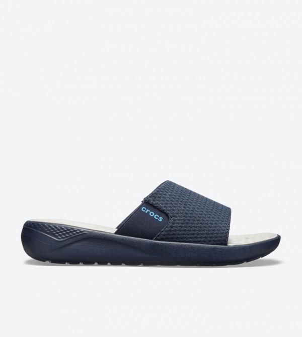 Literide Mesh Broad Strap Round Toe Slides - Navy 205611-464
