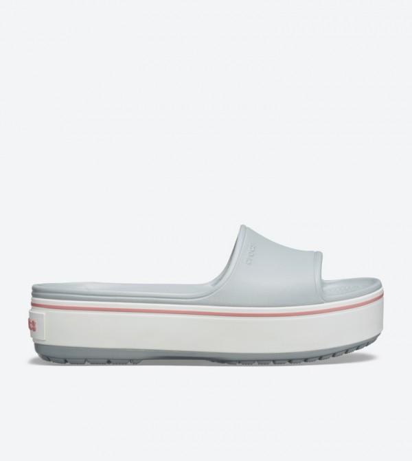Crocband Round Toe Platform Slides - Grey 205631-04M