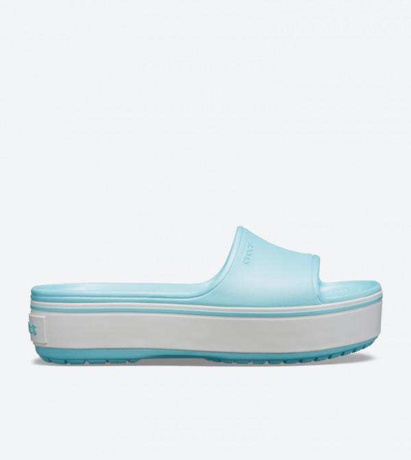 Crocband Round Toe Platform Slides - Blue 205631-4JE