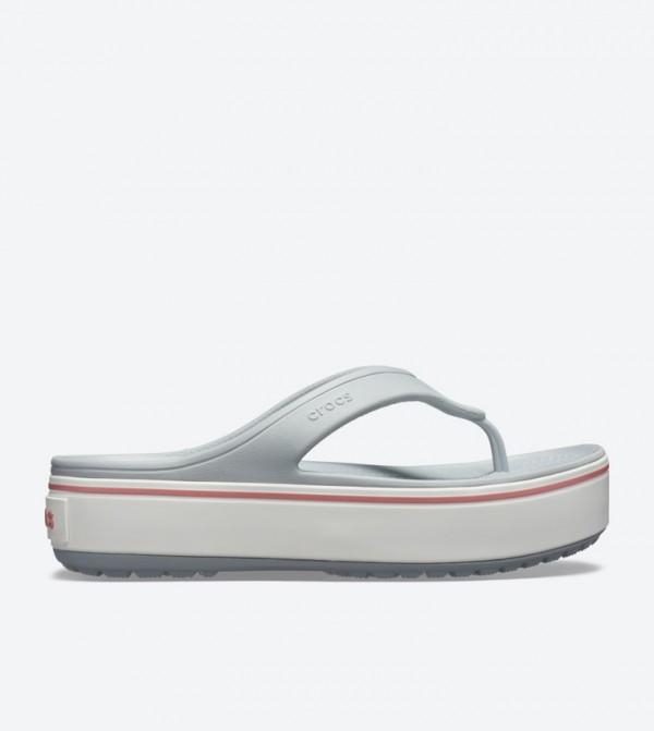 Crocband Platform Round Toe Flip Flops - Grey 205681-04M