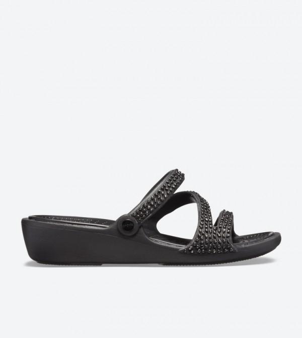 Patricia Diamante Wedge Sandals - Black 205725-060