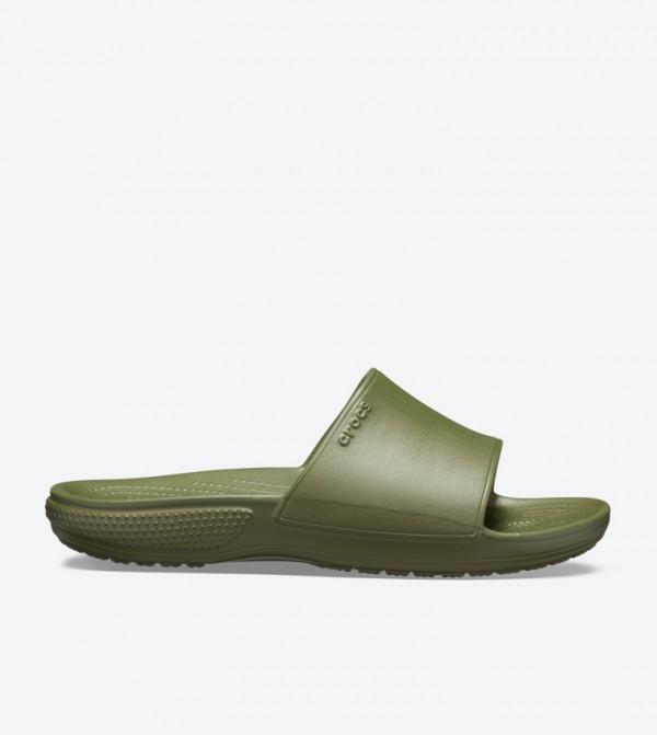 Classic Ii Broad Strap Round Toe Slides - Green 205732-309