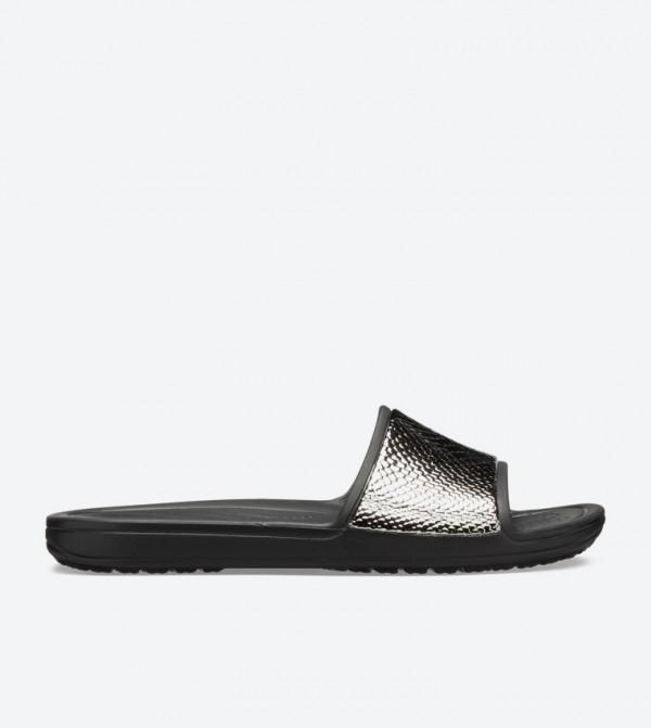 Sloane Metaltext Round Toe Slides - Black 205737-0FG