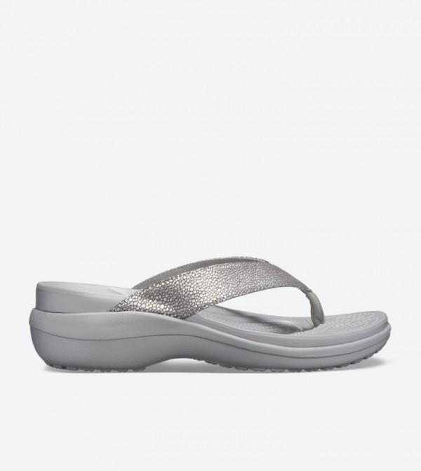 Capri Metallic Textured Wedge Flip Flops - Silver 205782-00N