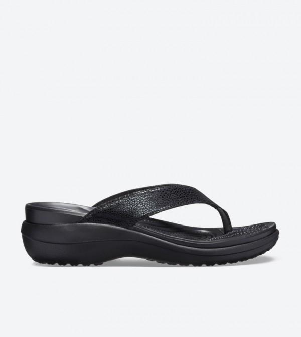 Capri Metallic Textured Wedge Flip Flops - Black 205782-060