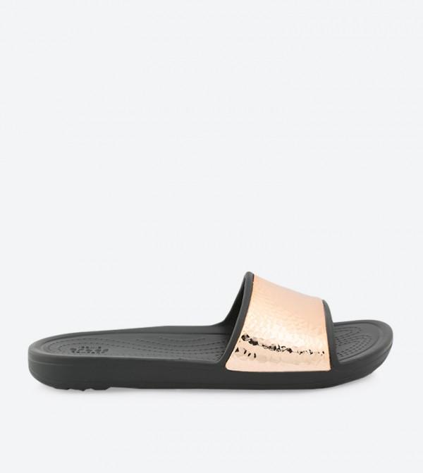Women's Crocs Sloane Hammered Metallic Slide