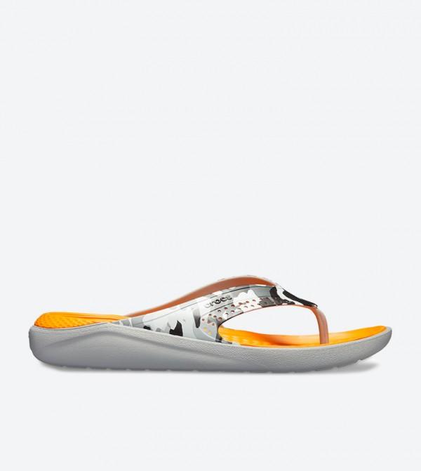 Literide Graphic Flip Flops - Grey 205360-97A